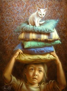 Dutch painter Jacob Christian Poen de Wijs born in Nijmegen. Studied at the Royal Academy of Visual Arts in the Hague, He lives and works in the Hague. Artist Painting, Painting & Drawing, She And Her Cat, Graffiti, Dutch Artists, Cat Drawing, Whimsical Art, Dog Art, Oeuvre D'art