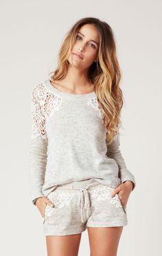 crochet lace sweatshirt // Pam & Gela #whatsnew #planetblue