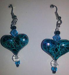 """Handmade"", Blue, Drop/Dangle Earrings with attitude #Handmade #DropDangle"