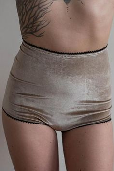 These hand sewn high waisted briefs from Show Me Yours Lingerie feature incredibly soft velvet with a beautiful picot elastic trim. The elastic trim is non-restricting, so it lays soft against your sk