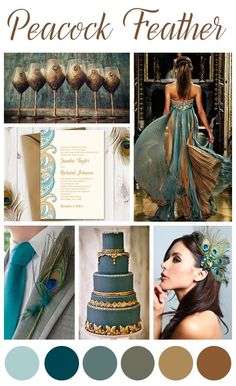Peacock Wedding Inspiration Mood Board Color Palette Teal and Gold