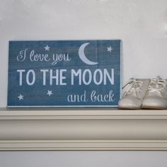 I Love You To The Moon and Back / Chalkboard Style Hand painted Wood Sign / Nursery Decor / Kids Room Sign