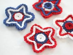 Patriotic Crocheted Stars - Repeat Crafter Me