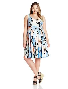 c2dfa07ed35 Calvin Klein Women s Plus-Size Printed Fit-And-Flare Dress   Insider s  special