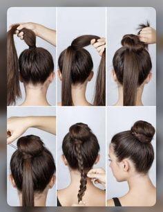 Source: Pinterest | braided bun ideas | trending style | #wittyvows #bridesofindia #bridesofwittyvows #hairstyles #hairstyleideas #bunhair #bunhairstyle #bunhairstyleforlonghair #potd #trending #fashion Updos For Medium Length Hair, Medium Long Hair, Mid Length Hair, 5 Minute Hairstyles, Bun Hairstyles For Long Hair, Popular Hairstyles, Beautiful Hairstyles, Hairstyle Ideas, Natural Hair Styles