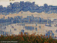 Wonderful azulejos (blue and white tiles) on the outer walls of the Church of Santa Luzia, Lisbon