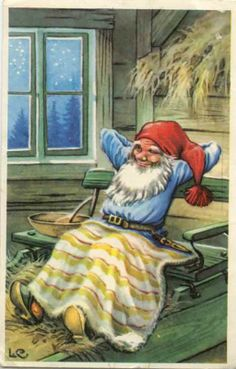 Gnome relaxing with a blanket. Swedish Christmas, Christmas Gnome, Scandinavian Christmas, Vintage Christmas Cards, Christmas Pictures, Alphonse Mucha, Illustrations, Illustration Art, David The Gnome