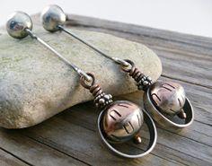 Dangle Drop Earrings Sterling Silver Copper Beads by LjBjewelry