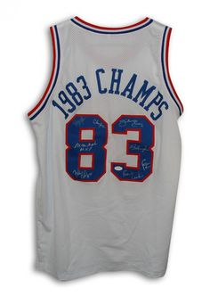 AAA Sports Memorabilia LLC - Philadelphia 76ers Autographed White Throwback Jersey signed by 8 Players that played on the 1983 Championship Team. They are: Julius Erving, Moses Malone, Bobby Jones, Clemon Johnson, Reggie Johnson, Earl Cureton, Franklin Edwards