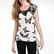 Justify Lace Trim Printed Tee  jcpenny