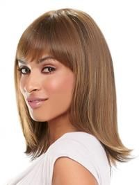 Medium Length Wigs For Women, Shoulder Length Auburn Straight With Bangs Designed African American Wigs Wigs African Americans, Remy Human Hair, Human Hair Wigs, Grey Hair Wig, Shoulder Length Blonde, Wig Stand, Beautiful Redhead, Curly Wigs, Synthetic Wigs