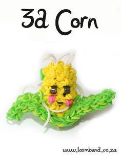 3-D Happy Corn Loom band tutorial , http://loomband.co.za/3-d-happy-corn-loom-band-tutorial/