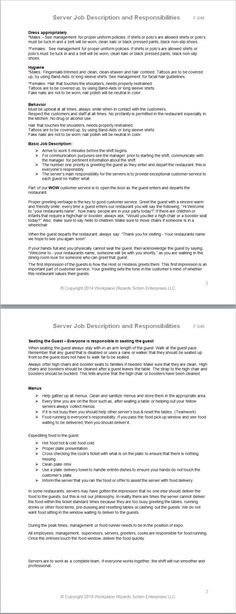 Fast Food Restaurant Job Descriptions #Infographic crafts - server job description