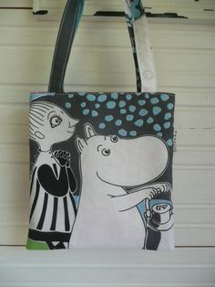 Mini Tote Bag for kids made of Rose Moomin fabric Mymble, turquoise, purple, white
