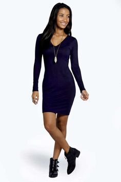 $14, Boohoo Penny V Neck Long Sleeve Bodycon Dress. Sold by BooHoo. Click for more info: https://lookastic.com/women/shop_items/98019/redirect