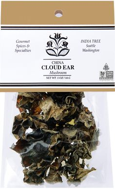 Cloud Ear mushrooms are gray-brown in color and are often used in Asian cooking. Like its cousin, the wood ear, the cloud ear grows in frilly masses on dead wood and is prized for its slightly crunchy texture. Use INDIA TREE Cloud Ear Mushrooms to flavor Dried Mushrooms, Stuffed Mushrooms, Mushroom Cloud, Brown And Grey, Gray, Fried Vegetables, Specialty Foods, Asian Cooking, Noodles