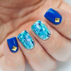 Blue Dry Brush Nail Art by Paulina's Passions