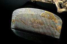 Reserved Antique Kushi Kanzashi - Gold and Silver Lacquered Hair Comb - Japanese Kushi Comb