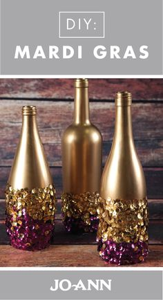 Celebrate Mardi Gras in style with this collection of DIY Decorations. With hints of gold, purple, and green throughout these homemade projects, these Glitter Bottles for your table are one of our favorites.