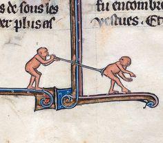 flatulent monkeys  Le livre de Lancelot du Lac and other Arthurian Romances, Northern France 13th century (Beinecke, MS 229, fol. 147r)