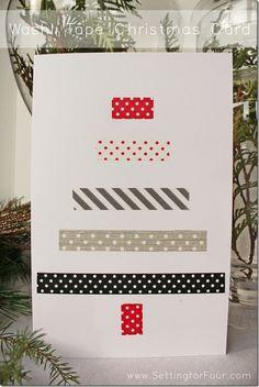 DIY Washi Tape Handmade Christmas Card Tutorial - great holiday gift card idea to make! Kids craft idea!