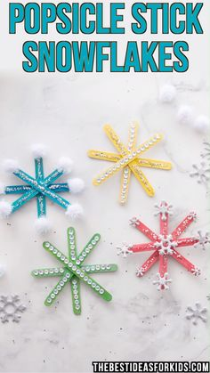 How to Make Popsicle Stick Snowflake Ornaments – An Easy Tutorial! POPSICLE STICK SNOWFLAKES – these are so fun to make! Hang them on your Christmas tree or give them as gifts. Kids will love doing this Christmas craft. Kids Crafts, Christmas Crafts For Kids To Make, Preschool Christmas, Christmas Activities, Craft Stick Crafts, Toddler Crafts, Diy Christmas Gifts, Christmas Tree, Tree Crafts