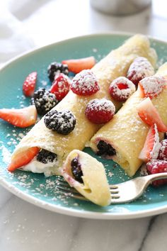 These blender crepes are so easy to make, and are perfect to serve for breakfast or dessert. They can be filled with fruit, jam, yogurt, ice cream, you name it!