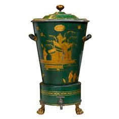 Chinoiserie - French Green Tole Hot Water Urn, C. Decorative Objects, Decorative Accessories, Decorative Boxes, Antique Furniture, Painted Furniture, Furniture Design, Chinoiserie Chic, Asian Decor, Tole Painting