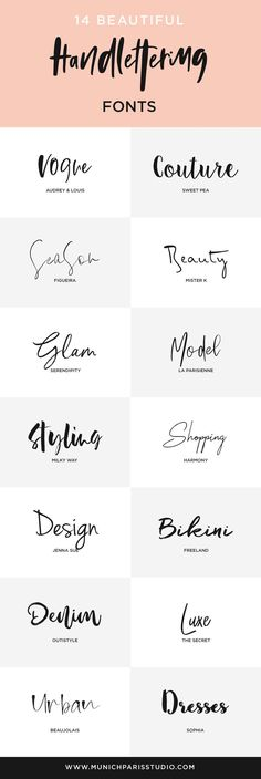 14 #handlettering fonts to use with your Branding or as  a Logo Design font. Click on the pin and download all fonts instantly -   most of them are FREE for commercial use! | Typography | Handlettering  | Logo Design DIY | Business Branding | Lifestyle Blog Branding | Logo Ideas | Typography Inspiration | #typography