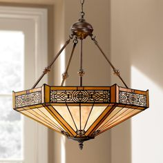Stratford 20 And Three Quarter Inch Wide 3 Light Mission Tiffany Style Pendant Tiffany Pendant Light, Glass Pendant Light, Tiffany Chandelier, Glass Pendants, Tiffany Style Ceiling Lights, Dining Room Light Fixtures, Dining Room Lighting, Dining Rooms, Dining Area