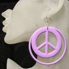 Big peace sign hoop earrings, large peace earrings, Huge hippie earrings