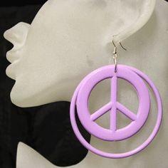 Big peace sign hoop earrings, large peace earrings, Huge hippie earrings