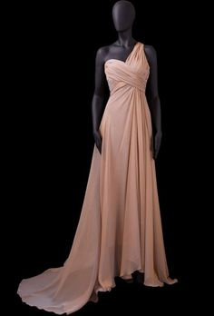 A-line One Shoulder Ruched Surplice Bodice Covered Buttons Chiffon Evening Dress-soe0061,  $172.95