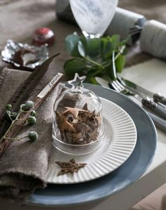 White and Grey Scandi-style Christmas Table Settings - This bell jar is a wonderful addition to a christmas table!