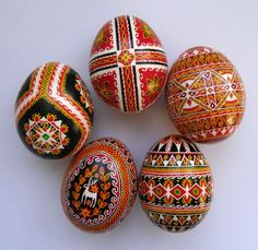 5 Real Ukrainian hand made Pysanky Easter Egg, Ukraine Hutsul Pysanka, egg shell