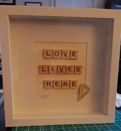 Scrabble art for new home Scrabble Letter Crafts, Scrabble Tile Crafts, Scrabble Words, Scrabble Art, Scrabble Letters, Box Frame Art, Box Frames, Valentine Crafts, Valentines