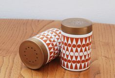 Hornsea geometric pattern salt and pepper by MidcenturyHomeStores