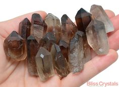 2 grand QUARTZ fumé Rough Point Point brut Smokey par BlissCrystals