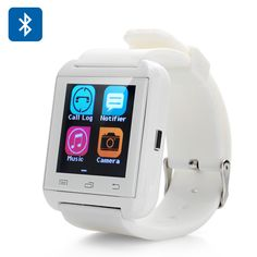 Uwatch U8 Plus Bluetooth Smart Watch - phone book Sync, Call,SMS,Sleep monitor,Pedometer,Free APP for IOS & Android (white)