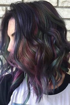 hair beauty - 33 Incredible Looks With Oil Slick Hair LoveHairStyles com Slick Hairstyles, Pretty Hairstyles, Hairstyles Haircuts, Natural Hairstyles, Oil Slick Hair Color, Pulp Riot Hair Color, Rides Front, Mermaid Hair, Ombre Hair