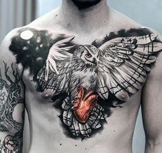 Mens Realistic Owl Flying With Heart Chest Tattoo