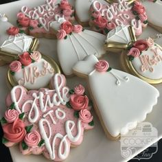Find some good ideas for bridal shower cookies and wedding cookies to use for your wedding. Some good options for fall weddings, spring weddings and summer weddings! Elegant cookies as well as rustic cookie themes. Wedding and bridal shower cookies can be Wedding Shower Cookies, Bridal Shower Desserts, Bridal Shower Party, Bridal Shower Rustic, Wedding Dress Cookies, Simple Bridal Shower, Wedding Shower Recipes, Spring Bridal Showers, Themed Bridal Showers