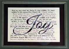 Joy Stitched by Melinda Heim Small Cross Stitch, Cross Stitch Letters, Cross Stitch Designs, Stitch Patterns, Cross Stitching, Cross Stitch Embroidery, Favorite Bible Verses, Friendship Gifts, Hand Lettering
