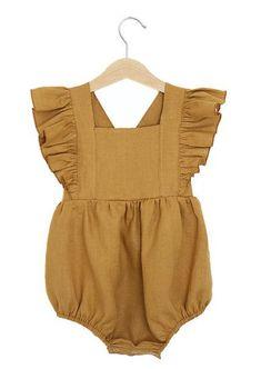c18f4e8fe5d Rocky Racoon Apparel Mustard Linen Vintage Romper baby linen romper toddler  linen