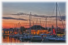 Sunset over the Bronte Harbour marina in Oakville, Ontario