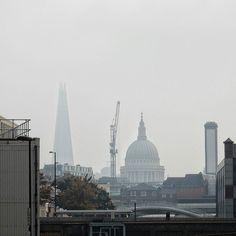 It isn't often you get a proper London pea-soup fog anymore. #Clerkenwell #LoveLondon #fog #StPauls #TheShard #lookupLondon #Skyline #Grey