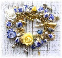 Vintage Delft Cameo Flower Heart Charm Bracelet by the Vintage Heart https://www.facebook.com/pages/The-Vintage-Heart-Charm-Bracelets/114715421925849 by Beanzie cat.