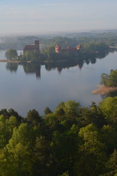 Trakai Island Castle in Lake Galve as seen from a Hot Air Balloon outside of Vilnius, Lithuania.