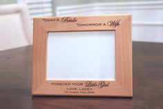 Today a Bride Frame, Father of the Bride Gift, Father of the Bride Frame, Forever your Little Girl, Father Daughter, Father Daughter Frame  Our Father of the Bride Personalized Frame is the Perfect Way to Display Your Favorite Picture of you and your Dad from your Wedding Day! This 5x7 Real Alder Wood Frame is Skillfully Engraved, Creating Permanently Engraved Text that will Require no Maintenance to Keep Beautiful. Each Frame Comes with a Glass Insert, an Easel Backing, and a White Gift…