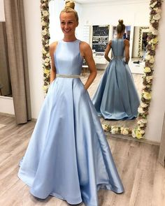 Prom Dresses with Beading Long Prom Dress Fashion School Dance Dress Winter Formal Dress 2505 Prom Dresses With Pockets, Cute Prom Dresses, Grad Dresses, Homecoming Dresses, Evening Dresses, Dress Prom, Prom Dresses Long Modest, Prom Gowns, Pageant Dresses